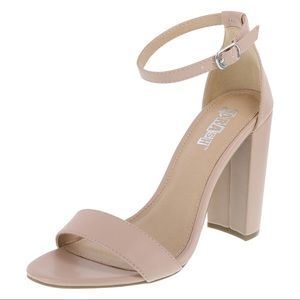 Brash Houston Ankle Strap Block Heel Sandal Nude